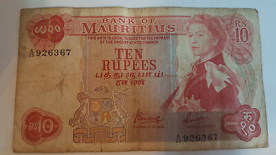 Mauritius Rs 10 note- 1967 Pick 31c