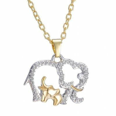 3X(Elephant Necklace For Mother's Day Gift Creative Necklace Cute Animal Do U9M4