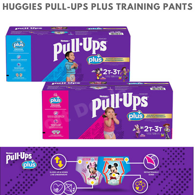 PICK SIZE Huggies Pull-Ups Plus Boy or Girls Box Case 124 or 116 or 102 CT