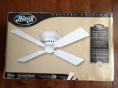 Hunter 42 Inch Low Profile White Ceiling Fan Model 20816