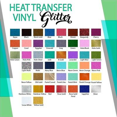 "Glitter Heat Transfer Vinyl By The Yard 20"" Wide Easy Weed 43 Colors"