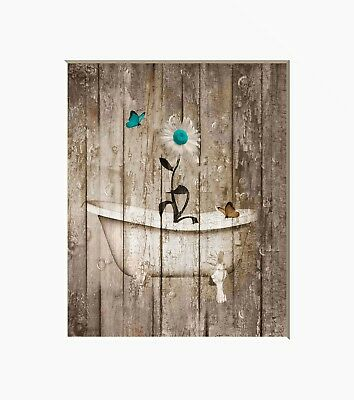 Rustic Bathroom Home Decor,Bathroom Farmhouse, Daisy Flower Butterflies Wall Art