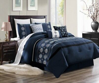 3Pc Duvet Bed Comforter Cover Set Navy Blue White Embroidery Flowers Brenda#2