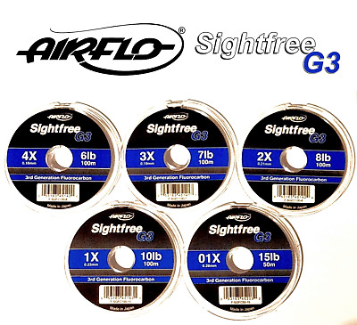 Airflo SIGHTFREE G3 Fluorocarbon Leader Line Tippet 100m 6/8/10lb Fly Fishing