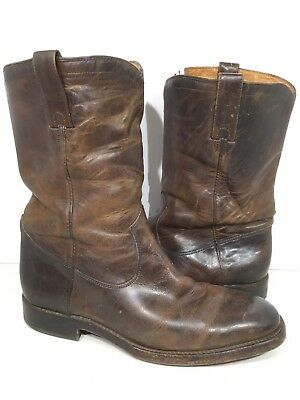 2f953c5884d FRYE WESTON ROPER Mens Size 10 Brown Leather Mid Calf Pull On Boots Shoes  FB-35*