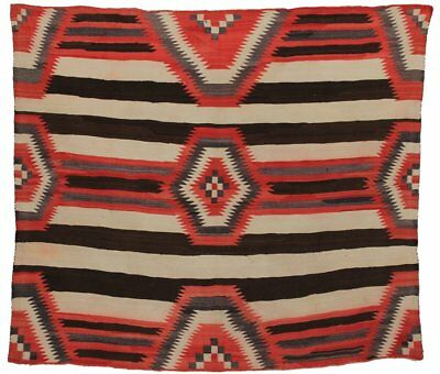 Antique Navajo 3rd Phase Chief Blanket; Circa 1900; 5-1 x 5-7 ft.