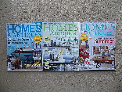 3 Copies Homes & Antiques Magazines - Oct 2014 + May/June 2016 - free postage