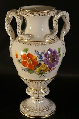 Antique Germany Meissen Vases w/ Snake Handles Flower With Gold.