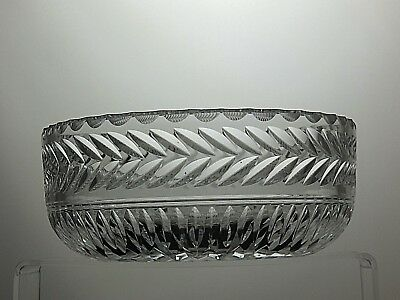 "Stuart Crystal ""Arundel"" Cut Large Heavy Fruit Salad Serving Bowl- 8"" Across"