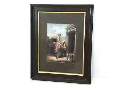 Vintage Wall Hanging Painting Print Collectable Art - Mother & Son Find Dog