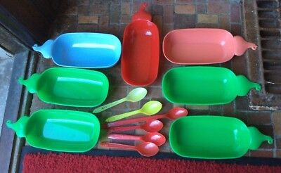 13 Lot Vintage Dairy Queen Banana Split Boats & Spoons  Red Green Blue Pink