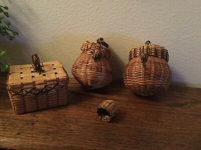 Lot Of 4 Vintage Small Brown Baskets