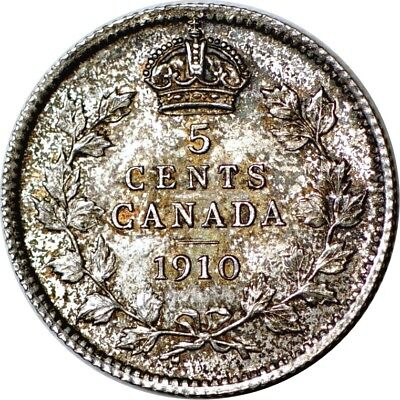 1910 5C Pointed Leaves Canada 5 Cents AU  K3950