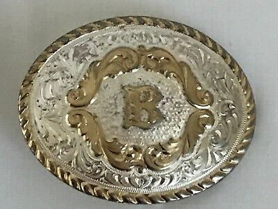 Montana Silversmiths Oval Silver Plated  Engraved Gold Trim Western Belt Buckle
