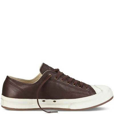 64f65a5f6836 Size 10.5 Leather Converse Jack Purcell JP Ox Low Top Sneakers Brown White  New
