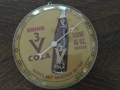 Vintage 3V Cola Circular Thermometer.  Great condition. Rare item!