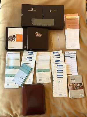 Franklin Covey Planner, Brown Full-grain Leather, with LOTS of extras