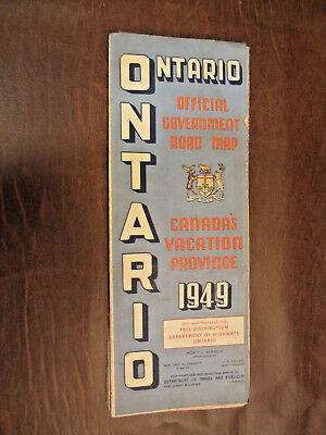 Vintage Old 1949 Southern Ontaro Canada Official Government - Road Map - Large
