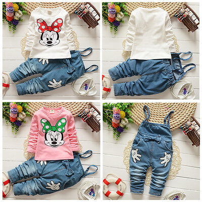 2pcs Kids Girl Baby Minnie Mouse Cotton T-shirt+Denim Bib Pants Overalls Clothes