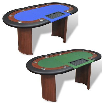 10 Player Casino Poker Table Dealer Area with Removable Chip Tray Blue US NEW