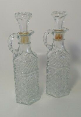 Set of 2 Vintage Cut Glass Cruet,with stopper, oil vinegar syrup