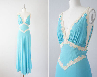 Vintage 1930's Emporium San Francisco Turquoise Silk and Ivory Lace Nightgown