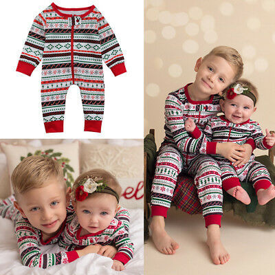 AU STOCK Christmas Baby Boy Girl Romper Nightwear Pajamas Sleepwear Pj's Clothes