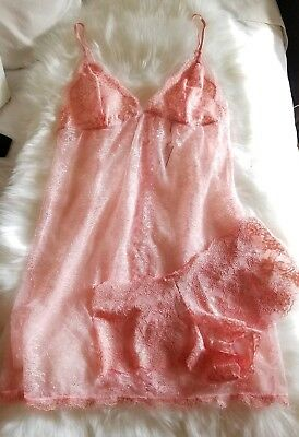Victorias Secret Satin Wicked Lace Dream Angels Babydoll Lingerie Slip+Panty Set