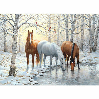 Horses Forest 5D DIY Diamond Painting Rhinestone Embroidery Picture Wall Decor