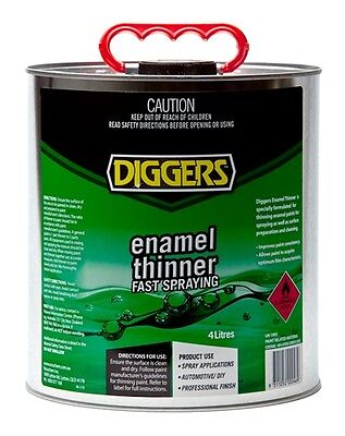 Diggers Enamel Industrial Automotive Thinners 4 Litre Fast Spraying Paint Clean