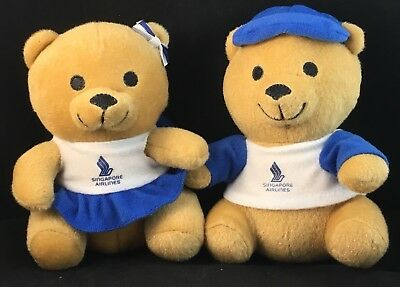 Set Of Singapore Airlines Branded Collectors Teddy Bears Pair Male & Female