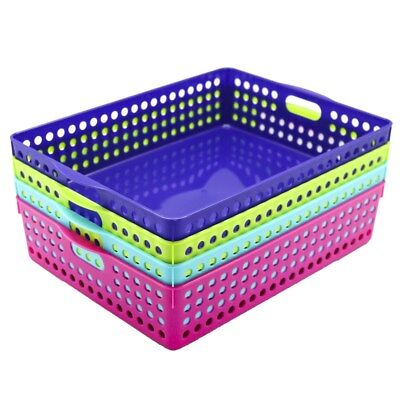 Neon Color Plastic Storage Basket Bins Tubs Containers 35X25.5X7.5CM Home Office