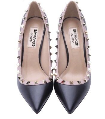 Brand New Black Patent Rivet Pointed Toe Heels Size EUR 40 8cm Height