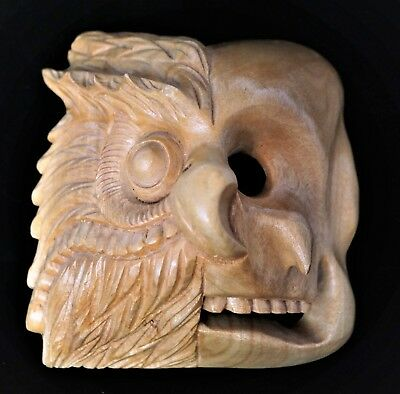 Felipe Horta Mexican Folk Art ~ Purepecha Wood Mask ~ Owl ~ Life/Death ~ Signed