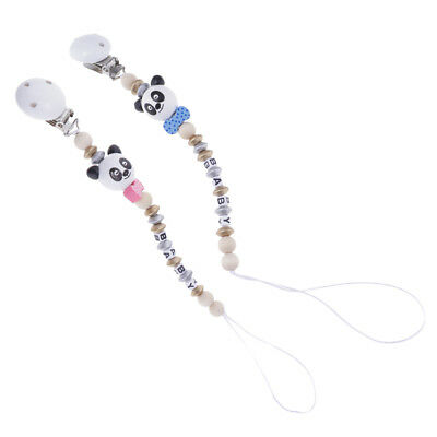 Infant Baby Pacifier Holder Clip Chain Dummy Teether Letter Beads Strap