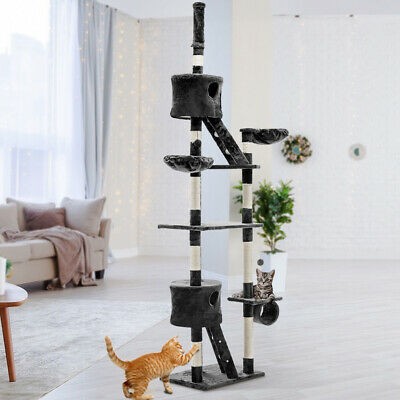 Large Cat Scratching Pole Post Furniture Tree Scratcher Toy House Condo 260cm