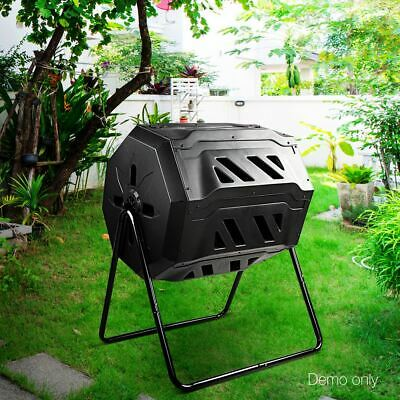 Compost Tumbler Bin Outdoor Waste Trash Recycling Chamber Heavy Duty Steel 160L