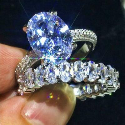 Hot Sale Women Silver Plated White Topaz Ring Wedding Fashion Jewelry Size 6-10
