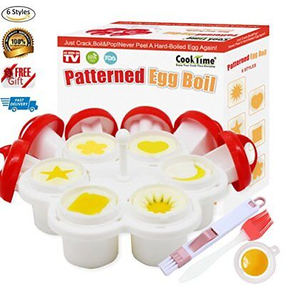 6 Shapes Patterned Egg Cooker&Mold,Hard Boiled Egg Maker Without the Shell