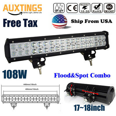 108W 17inch LED Work Light Bar Spot Flood Combo Offroad SUV 4x4WD JEEP 18'' US