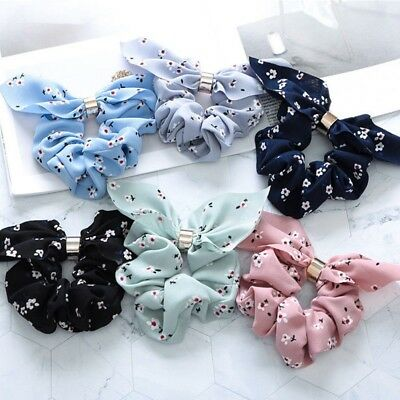 Women Bow Knot Hair Rope Ring Tie Scrunchie Ponytail Holder Accessory Adjustable