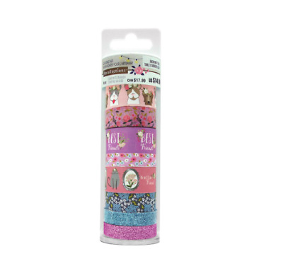 Recollections Washi Tape Tube DOG CAT GLITTER PURPLE 8 rolls washi planner