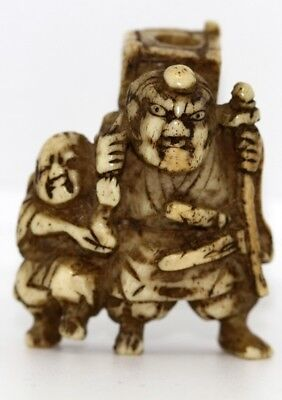 "Netsuke ""SAKATA NO KINTOKI 坂田金時 Demon Buster"" stag hone made EDO period"