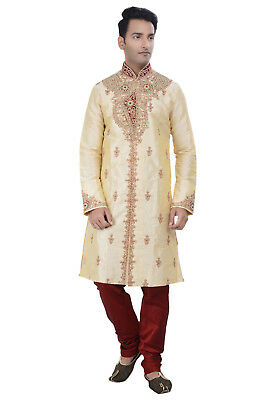 Indian Design Bollywood Gold Kurta Sherwani for Men 2pc Suit(Worldwide Postage)