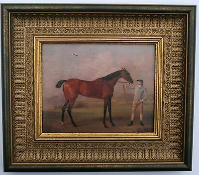 Horse and Jockey Framed Oleograph 201#W Reproduction Antiques , Art