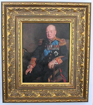 Sir Winston Churchill Framed Oleograph #E -British Prime Minister
