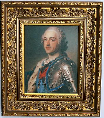 King Louis XV of France Framed Oleograph R568#G  - Reproduction Picture
