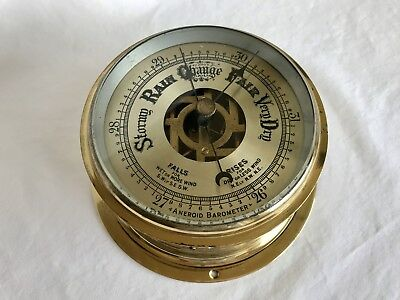 """Vintage Maritime Nautical SOLID BRASS SHIPS Aneroid #611 Barometer 5 3/4"""""""