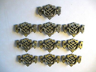 (10) Vintage Brass Finish Drawer Pulls / Handles -- Original Screws Included