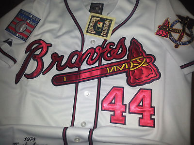 a171df290 Brand New Majestic Atlanta Braves  44 Hank Aaron dual patch SEWN WHITE  Jersey